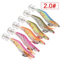 calamars en plastique achat en gros de-30 PCS En Plastique De Pêche Leurres Bois Crevettes Calmar Jig Crankbait Jigging Crochets 2.0 # 2.5 # 3.0 # 3.5 # 4.0 # Crochets De Calmar