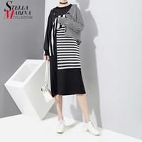 Wholesale Girls Korean Striped Dress - New 2018 Korean Patchwork Style Women Black Striped Dress Long Sleeve Knee Length Girls Evening Nigh Party Dress Club Wear 3254