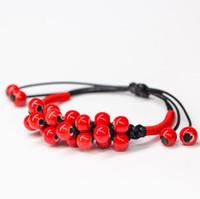 pulseras de la gema para las niñas al por mayor-Venta caliente Pulsera de cerámica hecha a mano Joyas de niña Pulseras brazaletes encanto de gemas naturales con cuentas rojas pulseras perlas Best Git
