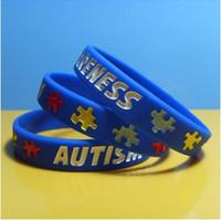браслеты оптовых-Аутизм осведомленности силиконовые браслеты резиновые браслеты заполнены чернилами силиконовые браслеты браслеты для подарков дети взрослые украшения CCA9196 500 шт