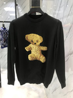 Wholesale warm teddy bear - 2018 Brand Autumn Fashion mens Casual jumper Men's Hoodies Sweatshirts Coat Men teddy bear letter flocking Warm Clothes Sweater Coats Men
