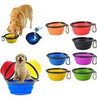 ingrosso ciotola per i gatti-DHL New Silicone Dog Cat Pet Ciotola Crollare Pet Bowl Water Dish Feeder Viaggi portatile Bowl per animali domestici.