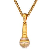 mikrofon kolye takı toptan satış-Buz Dışarı Zincir Kolye Mikrofon Kolye Erkekler Kadınlar Paslanmaz Çelik Altın Renk Rhinestone Best Friend Takı Hip Hop P1018