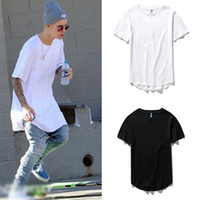 Wholesale blank tee top shirts - men's T Shirt Kanye West Extended T-Shirt Men's clothing Curved Hem Long line Tops Tees Hip Hop Urban Blank Justin Bieber Shirts