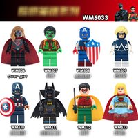 Wholesale robin action figures - WM6033 Superheroes building blocks 2018 New children Avengers Captain America Robin Movable Action Figure Minifig Toys B