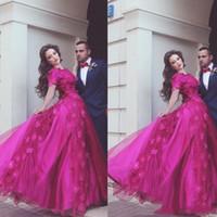 fuschia prom kleider großhandel-Fuschia Arabisch Lange Ballkleider Party Wear Schatzausschnitt Handgemachte Blumen Bodenlangen Abendkleider