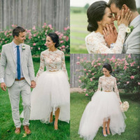 Wholesale custom crops - 2018 Country High Low Two Pieces Wedding Dresses O Neck Long Sleeves White lace Two Piece Bridal Dresses Elegant Crop Top Wedding Gowns
