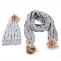 зимние сплошные цветные шарфы оптовых-Winter Hats For Women Knitted Two-Piece Girl Solid Color Warm Wool Hats Scarves Suit Female Wool Pompon Scarf