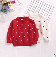 Wholesale Children Red Pullover Sweater - Children knited sweater girls love heart embroidery princess pullover valentine's day clothing 2018 spring new kids cotton jumper R1939