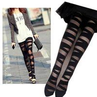 siyah tozlukları kes toptan satış-Toptan Drop Shipping Ripped Cut-out Bandaj Siyah legging Kadın Lady Tayt pantolon Seksi Pantolon