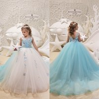 Wholesale black flower girl dress chiffon resale online - 2019 Beautiful White and Light Blue Flower Girls Dresses for Weddings Ball Gown Floor Length Appliqued Girls Pageant Prom Gowns