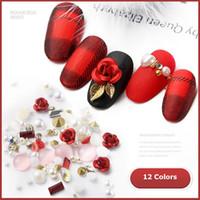 perlas de color arte de uñas al por mayor-Nueva 3D Flor rosa Arte de uñas Decoraciones DIY Diseño Brillante Diamante Perla Nail Art Supplies 12 colores