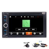 transmisor de cámara a distancia al por mayor-Automóvil DVD Doble Din en el tablero Navegación GPS control del volante FM AM RDS Bluetooth USB SD mp3 mp4IR Control remoto + cámara de respaldo inalámbrica
