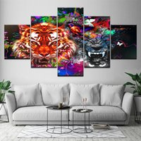 Wholesale tiger pieces art painting pictures resale online - Canvas Painting Tiger and Panther with Splashes Pieces Wall Art Painting Modular Wallpapers Poster Print for living room Decor