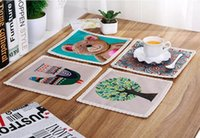 Wholesale square table cloths - European style cotton and linen cloth art placemat Creative table mat bowl pad Cartoon printing cup mat