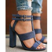 Wholesale Denim Stilettos - Fashion Women Exclusive High Heeled Peep Toe Double Belt Buckle Stilettos Sandals Ankle Strap Nude Shoes
