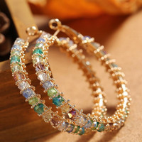 Wholesale fashion earrings for girls for sale - Group buy New Fashion Trendy Women Earrings Jewelry Yellow Gold Plated CZ Big Earrings Hoops for Girls Women Nice Gift