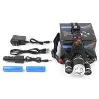 Wholesale cree headlight headlamp - CREE XM-L T6 2R2 Headlight Trinuclear Headlamp 4 Modes Head Torch Lamp+AC Charger+ Car Charger+18650 Cycling Lights 2503012