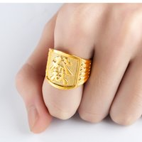 Wholesale Vietnam Gold - Europe and the United States Vietnam sand gold jewelry wholesale plated 18K gold color open domineering Fortune word men's ring