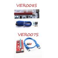 Wholesale Riser Pci E - PCI-E VER 008S 007S VBitcoin Ver008S With LED VER007S 6 pin SATA Miner Riser Express 1X 16X Graphics Card USB 3.0 Power Supply