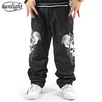 skull print harem pants Canada - Famous Brand Black Mens Hip Hop Baggy Jeans Men Denim Loose Skateboard Skull Printed Emboridery Harem Pants Big Size Trousers 44