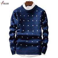ropa puntos al por mayor-Suéteres de lana para hombre Jerseys para hombres Ropa de marca Casual O-cuello Suéter Hombres Patrón de punto Camisa de algodón de manga larga para hombre M-2XL D1892901