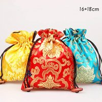 Wholesale Silk Gift Pouches Large - Large Floral Silk Satin Gift Bags for Jewelry Necklace Bangle Bracelet Travel Storage Bag Perfume Makeup Tools Packaging Pocket