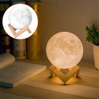 Wholesale moon bedroom lighting resale online - Rechargeable D Print Moon Lamp Touch Sensor Switch Bedroom Bookcase USB Charge Night Light Home For Baby Gift Home