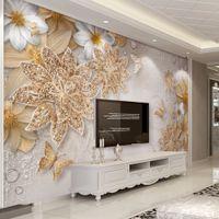 ingrosso carta da parati dorata di lusso-Carta da parati murale per pareti camera da letto 3D lusso gioielli in oro fiore farfalla sfondo carte da parati Home Decor Living Room