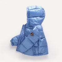 abrigo de niño de moda al por mayor-Abrigos de invierno Niños Abrigos Chicas Chaquetas de moda Niños Bebés Espesar Abrigos con capucha Calentar pato Ropa de abrigo