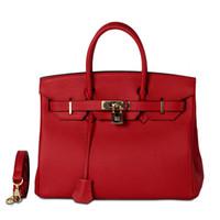 d4ef08ed2c96f 100% echtem leder umhängetaschen für damen luxus handtaschen frauen taschen  designer Mode Schloss Große Weiche totes Bolsas Feminina Y18102004