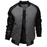 Wholesale mens leather baseball jackets - Cool College Baseball Jacket Men 2017 Fashion Design Black Pu Leather Sleeve Mens Slim Fit Varsity Jacket Brand Veste Homme Xxl