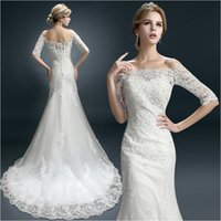 Wholesale wedding dresses small sleeves - New Winter Word Shoulder Bridal Tail Wedding Dresses Sleeves Lace Decals Beaded Tail Small Trailing Style Church Dresses HY077