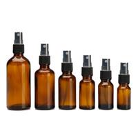 özlü yağ pompası toptan satış-Siyah Ince Sis Pompa Püskürtme ile Amber Cam Şişe Şişeleri Uçucu Yağlar Parfüm Temizleme Ürünleri Aromaterapi Şişeleri için Tasarlanmış