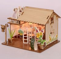 Wholesale paper house models - Baby Room Home Decoration Doll House Model Furniture DIY 3D Puzzle Kit Wooden Paper Toy Cute Lovely Assemble Gift