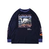 siyah uzun tişörtler toptan satış-Heron Preston T Shirt Hip Hop Boy Streetwear Uzun Kollu Heron Preston Tişört Vinç Siyah Heron Preston T Gömlek 2018