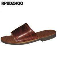 коричневые кожаные сандалии оптовых-Designer Flat Slippers Brown Slip On Slides Men Sandals Leather Summer  High Quality Open Toe Beach Japanese 2018 Shoes