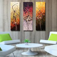 tanz wand leinwand großhandel-Handgemachte Ölgemälde in der Segeltuch-Tanzmalerei 100% handgemalte 3 Wandkunstzeichnung des Wohnzimmers
