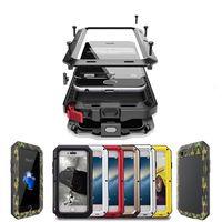 étuis iphone 5s outdoor achat en gros de-Boîtier en aluminium de luxe en métal armure extérieure antichoc pour iPhone X 7 6 6 s et 5 5s SE couverture cas téléphone étanche + film de l'écran
