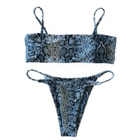 Wholesale snake swimwear online - Bandeau Micro Bikini Tube Top Biquini Snake Print Swimwear Women Strappy Bandage Swimsuit Thong maillot de bain