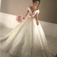 elbise bling glitter toptan satış-Arapça 2019 Bling Balo Gelinlik Off-Omuz Sparkly Şapel Tren Glitter Yapıştırılmış Dantel Dantel-up Seksi Düğün Gelin Törenlerinde Özel