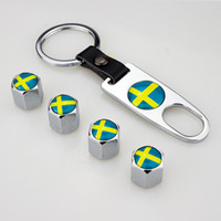 Wholesale Keys Caps Covers - Sweden Flag Leather Buckle Valve Cap Wheel Tyre Tire Valve Dust Stems Air Caps Cover + Wrench Key Chain 248 Color available Swedish flag