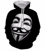 ingrosso immagini top per donne-Moda Autunno Inverno Felpe Uomo Donna Vendetta Maschera Hacker Immagine 3D Stampa Girocollo Felpe Casuali Tasche Felpa Tops GQL0150