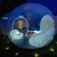 ingrosso tende gonfiabili campeggio familiare-Tenda a bolle gonfiabile trasparente Tenda da campeggio a bolle gonfiabile Tenda da campeggio esterna a tunnel singolo trasparente con ventilatore e aria