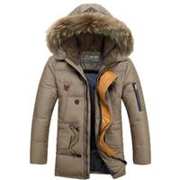 ingrosso giacca invernale jeep-Winter Jeep Men Down Parkas Giacche Moda uomo Cappotto di lana imbottito con cappuccio