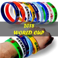 Wholesale hockey team gifts - World Cup Bracelet Silicone Country Flag Unisex Sport Wristband Soccer Football Team Fans Cheering Gift LJJN1