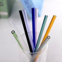 satılık cam çöp sepetleri toptan satış-Fabrika Doğrudan Satış Renkli Borosilikat Kokteyl Cam Payet parti için 7 Inç 8mm boğaz içme saman