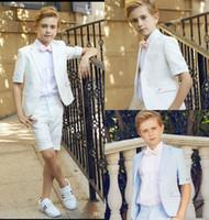 baby blue anzüge hochzeiten groihandel-Zwei Stücke Kurzarm Hochzeit Für Jungen Jugendliche Anzüge Nach Maß Kinder Hochzeit Formelle Kleidung Kurze Hosen
