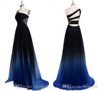 akşam elbiseleri uzun imparatorluk bel toptan satış-2019 Ombre Gradiant Renk Abiye Bir omuz İmparatorluğu Bel Şifon Siyah Kraliyet Mavi Tasarımcı Uzun Ucuz Balo Örgün Özel Durum
