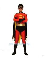 ingrosso costumi personalizzati per bambini-Red Robin Costume Batman Spandex Red Black Robin Costume Cosplay Halloween Party Supereroe Costume adulto / Bambini / su misura